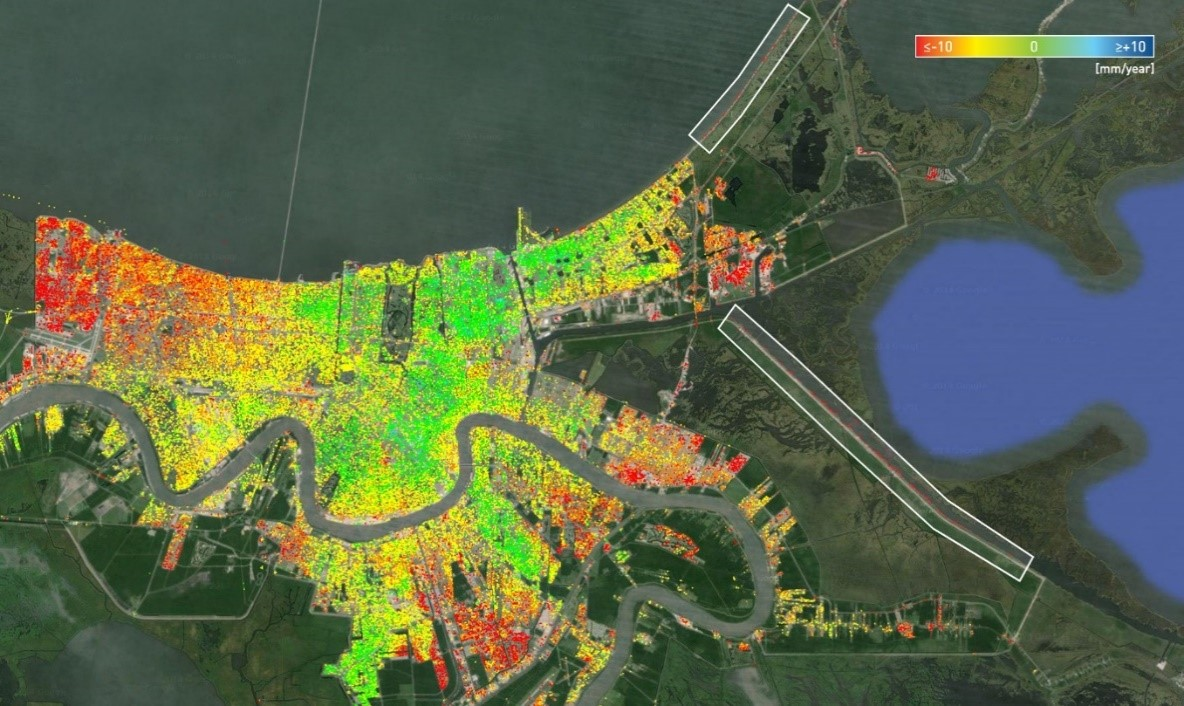 Typical InSAR image taken of the Greater New Orleans area.
